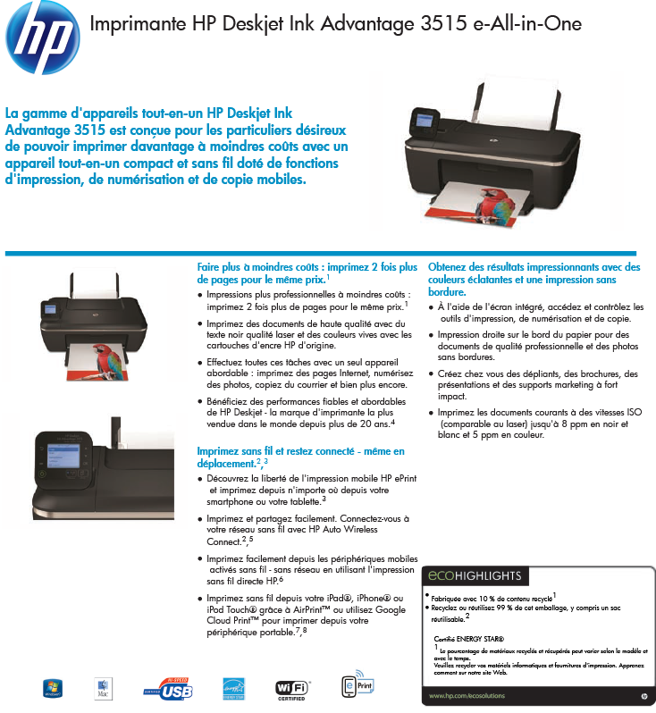 Acheter Imprimante HP Deskjet Ink Advantage 3515 e-All-in-One (CZ279C) maroc