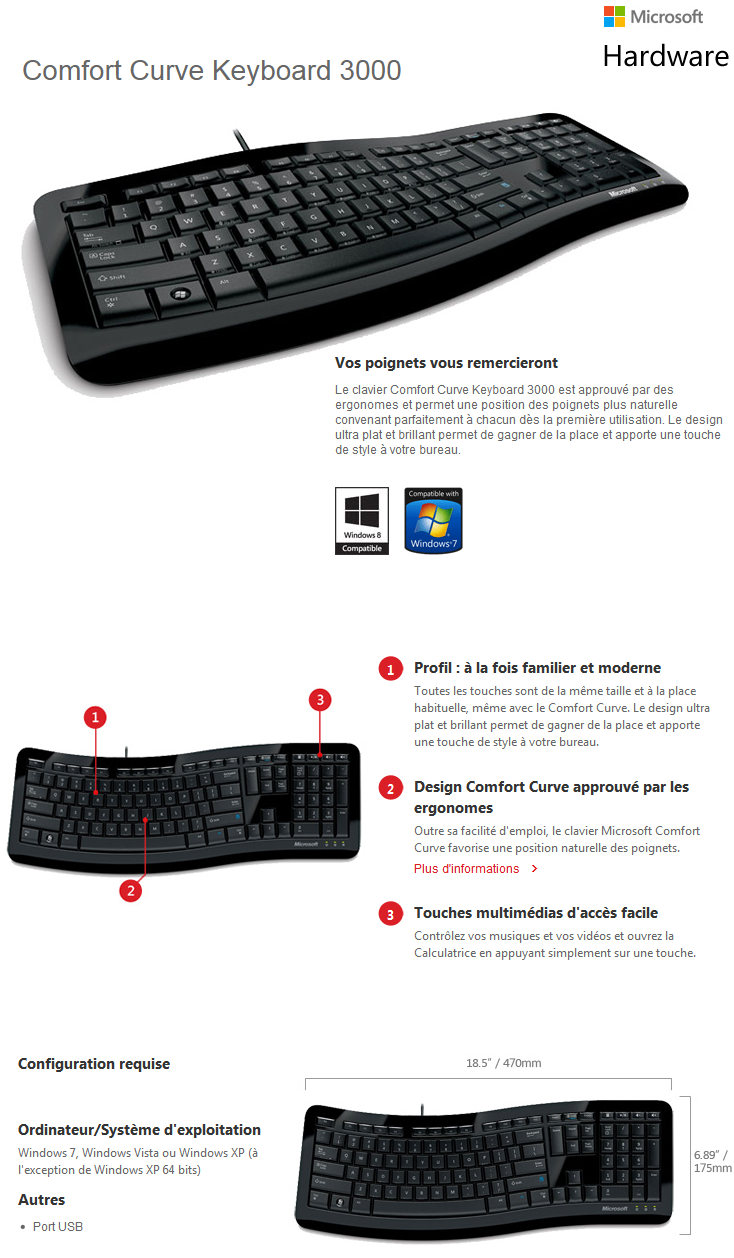 clavier usb microsoft comfort curve keyboard 3000 azerty maroc. Black Bedroom Furniture Sets. Home Design Ideas