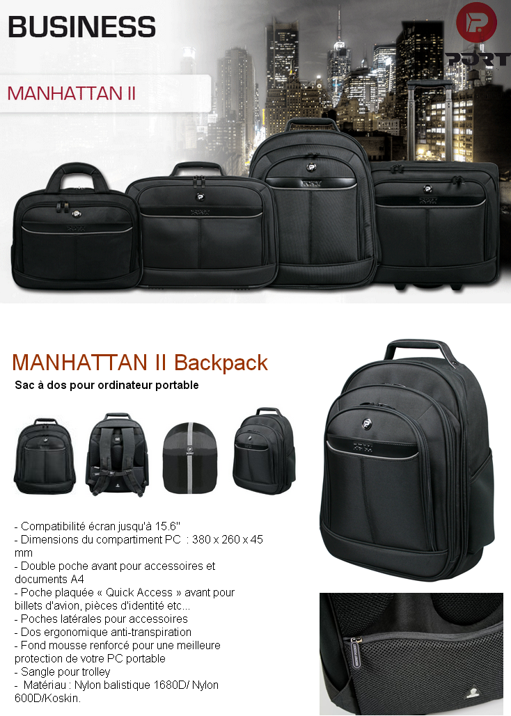 sac dos manhattan 2 backpack pour pc 15 6 39 39 port. Black Bedroom Furniture Sets. Home Design Ideas