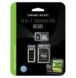 Carte Dane-Elec Class 10 microSDHC avec 2 Adapters - 8, 16 et 32 GB