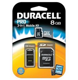 Carte mémoire Classe 10 Duracell flash microSDHC avec 2 Adapters - 8, 16 et 32 GB