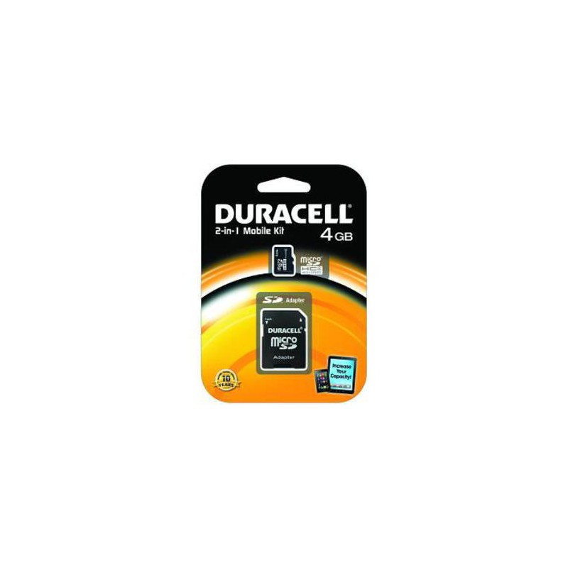 carte m moire classe 4 duracell flash microsd avec sd. Black Bedroom Furniture Sets. Home Design Ideas