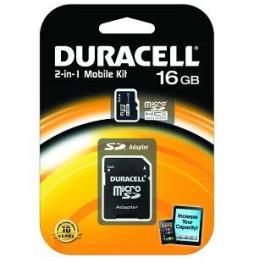 Carte mémoire Classe 4 Duracell flash microSD avec SD Adapter - 4, 8, 16 et 32 GB