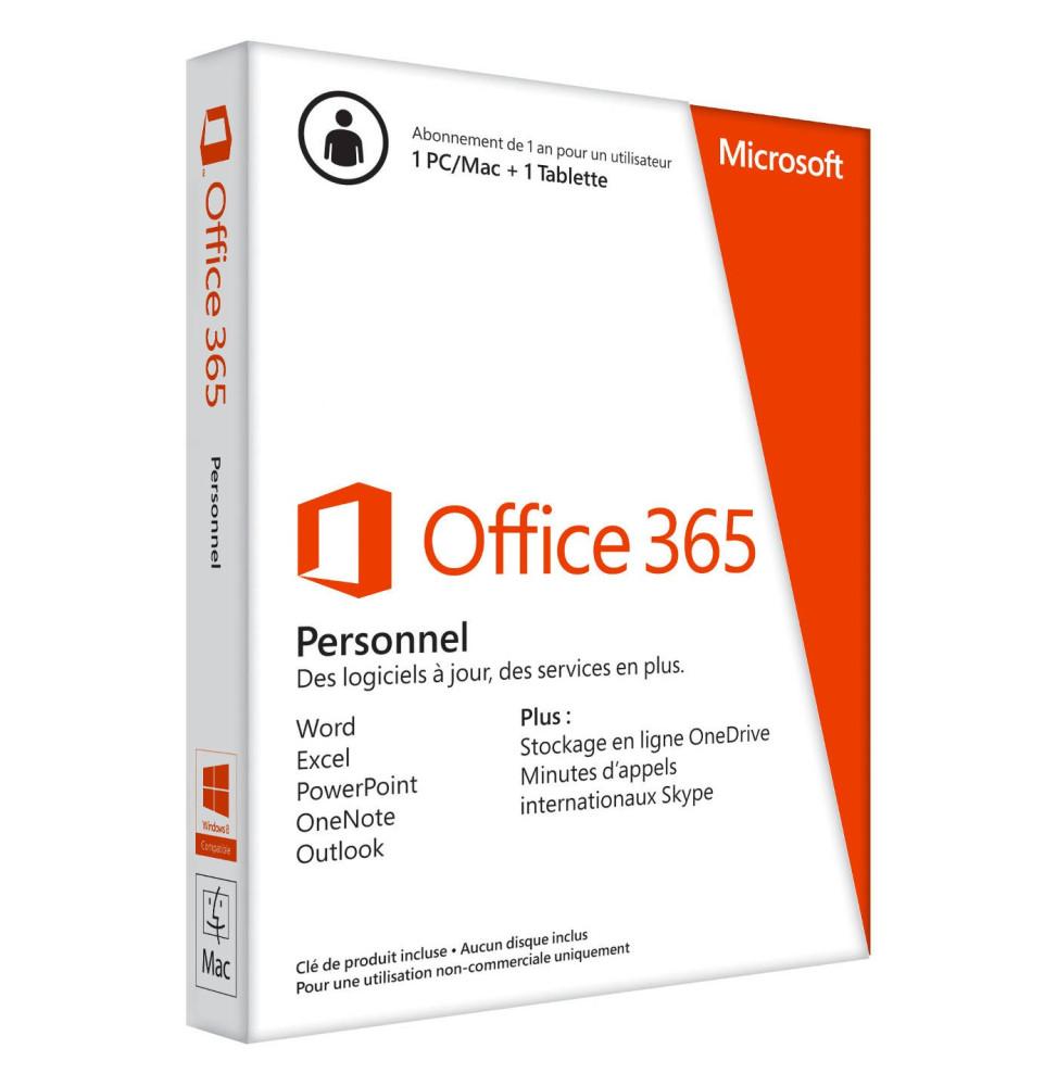 Microsoft Office 365 Personnel - Licence d'abonnement ( 1 an ) - Pour un 1 PC ou Mac + 1 tablette