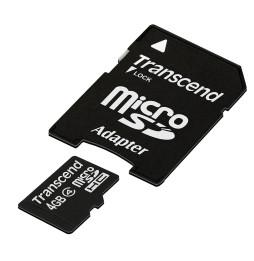 Carte mémoire Transcend microSDHC avec adaptateur SD - Classe 4