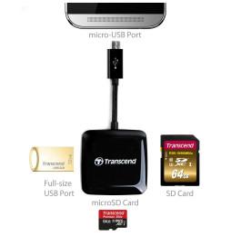 Lecteur de cartes mémoire Transcend SD/microSD/port USB - Compatible avec les appareils Android OTG