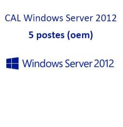 CAL Windows Server 2012 (64 bits) Licences d'Accès Client (CAL) pour 5 postes