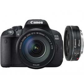 Reflex Canon EOS 700D + Objectif Canon EF-S 18-135mm STM + Objectif Canon EF 40mm f/2,8 STM