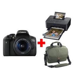 Reflex Canon EOS 750D + Objectif 18-55mm + Imprimante Selphy CP910 + Sac à messenger Vanguard