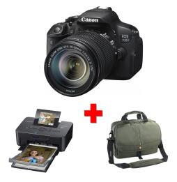 Reflex Canon EOS 700D + Objectif Zoom EF-S 18-135mm + Sac à messenger Vanguard + Imprimante Canon SELPHY CP910