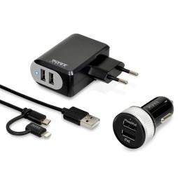 Chargeur USB 2en1 PortDesigns mural et voiture avec câble (900023)