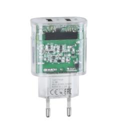 Chargeur Secteur Mural Rivapower VA4123 2USB x 3.4 A - Micro USB 1 m Transparent