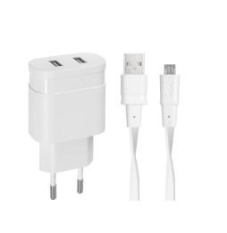 Adaptateur Secteur Mural Rivapower VA4123 - Câble Micro USB - 2 x USB - 3,4 A