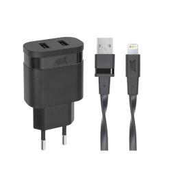 Adaptateur Secteur Mural Rivapower VA4125 - Câble MFi Lightning - 2 x USB - 3,4 A