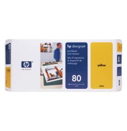 Tête d'impression et dispositif de nettoyage jaune HP 80 (C4823A)