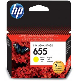 HP 655 Jaune - Cartouche d'encre HP d'origine (CZ112AE)
