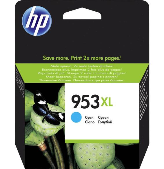 HP 953XL Cyan - Cartouche d'encre grande capacité HP d'origine (F6U16AE)