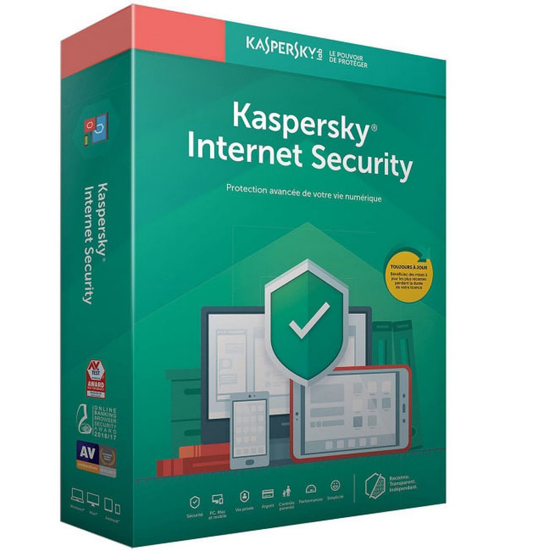 Kaspersky Internet Security 2020 - 10 Postes / 1 an (KL19398BKFS-20MAG)