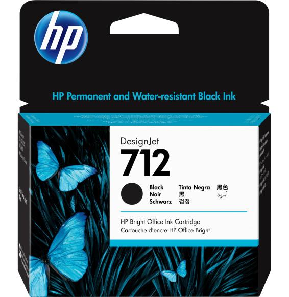 HP 712 Noir - Cartouche d'encre HP d'origine (3ED71A)