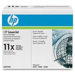 Cartouches d'encre noire HP LaserJet 11X (lot de 2) (Q6511XD)