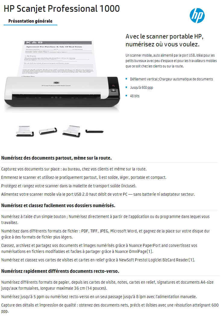 Acheter Scanner Mobile HP Scanjet Professional 1000 L2722A Maroc