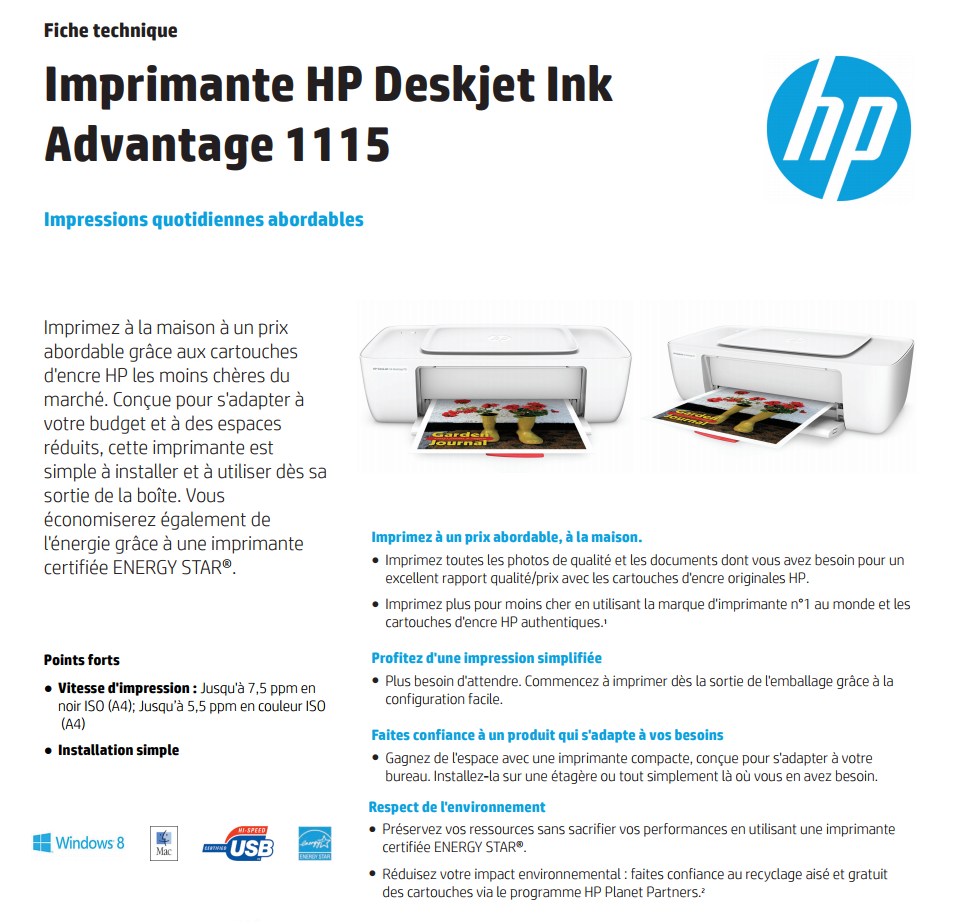 imprimante hp deskjet ink advantage 1115 f5s21c maroc. Black Bedroom Furniture Sets. Home Design Ideas