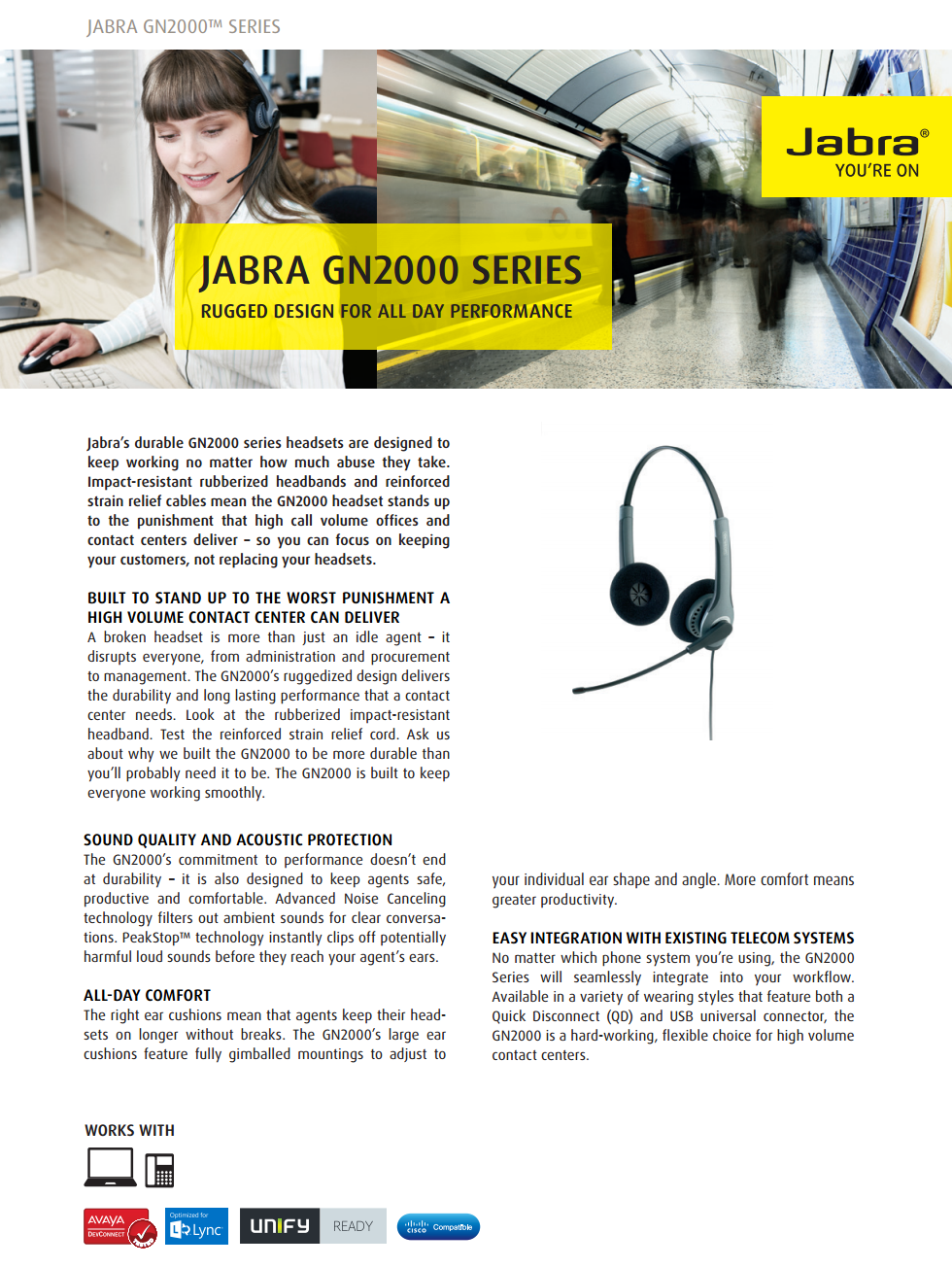 Acheter Micro-casque filaire Jabra GN2000 DUO Noise Canceling Narrow Band (QD) Maroc