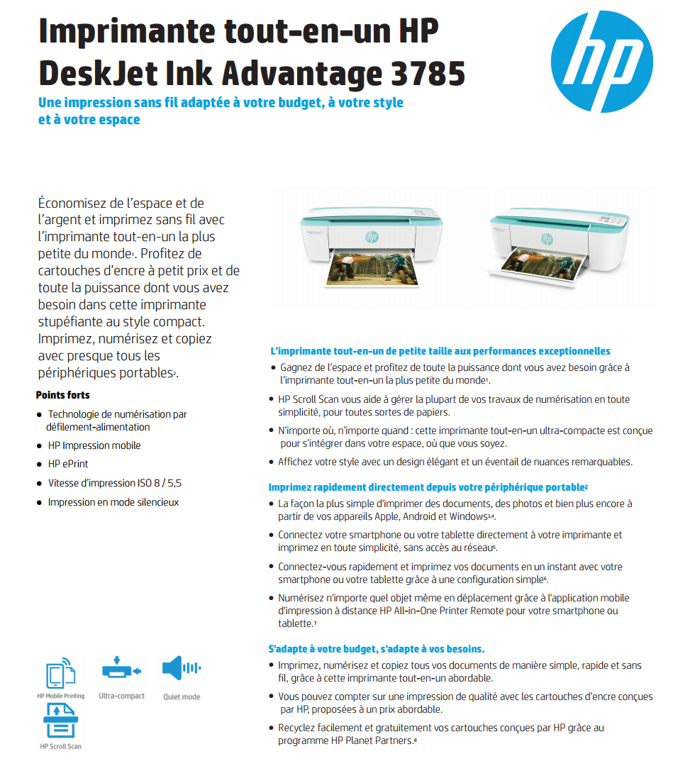 imprimante wi fi tout en un hp deskjet ink advantage 3785. Black Bedroom Furniture Sets. Home Design Ideas